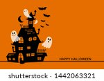 happy halloween greeting card... | Shutterstock .eps vector #1442063321