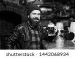 guy bearded man sit at bar... | Shutterstock . vector #1442068934