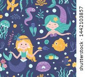 seamless pattern with cute... | Shutterstock .eps vector #1442103857