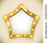 blank golden star frame with...   Shutterstock .eps vector #144215101