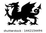 the welsh dragon in black...   Shutterstock . vector #1442154494