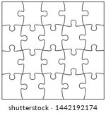 set of black and white puzzle... | Shutterstock .eps vector #1442192174