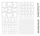 set of black and white puzzle... | Shutterstock .eps vector #1442192177