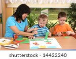 teacher and two preschoolers... | Shutterstock . vector #14422240