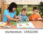 teacher and two preschoolers...   Shutterstock . vector #14422240