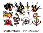 vector set of old school tattoo ... | Shutterstock .eps vector #1442237864