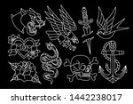 vector set of old school tattoo ... | Shutterstock .eps vector #1442238017