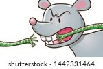 cartoon the mouse biting rope....   Shutterstock .eps vector #1442331464