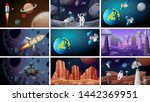 scenes of space backgrounds... | Shutterstock .eps vector #1442369951