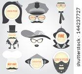 decorative man and woman speech ... | Shutterstock .eps vector #144237727