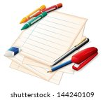 Illustration of the school materials on a white background