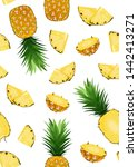 pineapple fruits and slice...   Shutterstock .eps vector #1442413271