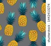 pineapple seamless pattern on...   Shutterstock .eps vector #1442413274