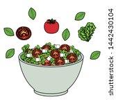 ceramic bowl with vegetables... | Shutterstock .eps vector #1442430104