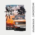 take a break slogan with car on ... | Shutterstock .eps vector #1442435144