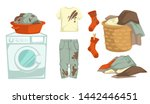 dirty laundry mud stains and... | Shutterstock .eps vector #1442446451