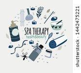 doodle set of spa elements ... | Shutterstock .eps vector #1442475221