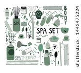 doodle set of spa elements for... | Shutterstock .eps vector #1442475224