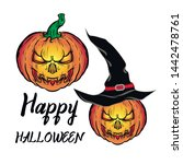 pumpkin happy halloween vector... | Shutterstock .eps vector #1442478761