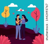 couple embraced in the park... | Shutterstock .eps vector #1442493767