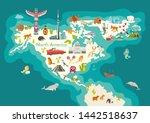 animals world map  north... | Shutterstock . vector #1442518637