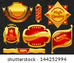 premium label golden with... | Shutterstock .eps vector #144252994