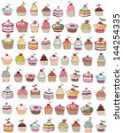 seamless set of cup cakes ... | Shutterstock .eps vector #144254335