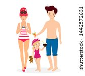 happy family at beach. smiling... | Shutterstock . vector #1442572631