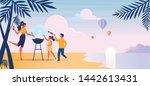 beach barbeque  picnic flat... | Shutterstock .eps vector #1442613431