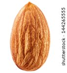 almonds isolated on a white... | Shutterstock . vector #144265555