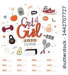 firtness wall calendar. 2020...   Shutterstock .eps vector #1442707727