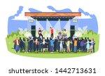 rock music festival flat vector ... | Shutterstock .eps vector #1442713631