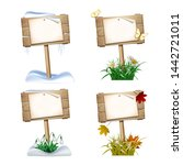 set of wooden signs in four... | Shutterstock . vector #1442721011