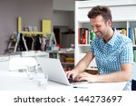 happy student working on laptop ... | Shutterstock . vector #144273697
