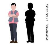 silhouette of a child and a... | Shutterstock .eps vector #1442788157