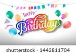 happy birthday hand drawn... | Shutterstock .eps vector #1442811704