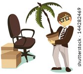 office worker with a decorative ... | Shutterstock .eps vector #144282469