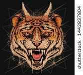 tiger head angry face with horn ... | Shutterstock .eps vector #1442837804