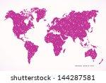 grunge textured world map... | Shutterstock .eps vector #144287581