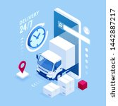 isometric logistics and... | Shutterstock . vector #1442887217