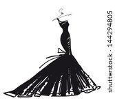 wedding dress vector | Shutterstock .eps vector #144294805