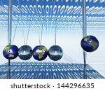 world newtons cradle with...   Shutterstock . vector #144296635