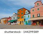 colorful buildings in burano... | Shutterstock . vector #144299389