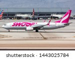 Small photo of Las Vegas, Nevada – April 9, 2019: Swoop Boeing 737-800 airplane at Las Vegas airport (LAS) in the United States.