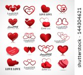 Heart Icons Set   Isolated On...