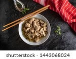soup with pieces of pork and... | Shutterstock . vector #1443068024