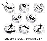 icons of summer water sports | Shutterstock .eps vector #144309589