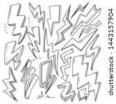 set of thunder bolt in doodle... | Shutterstock .eps vector #1443157904