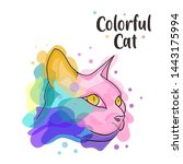Stock photo illustration a cat colorful and cute 1443175994