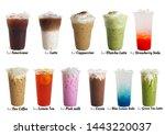 Small photo of Mix ice beverage ex.green tea,cocoa,coffee,soda, pink milk, lemon iced tea, and a ice matcha latte. Macro.